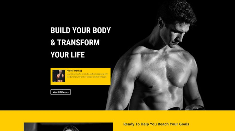Divi Layout for Fitness Business
