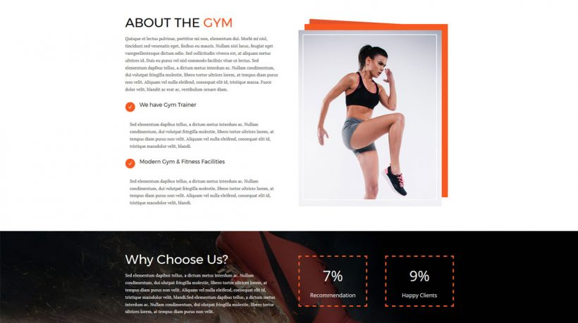 Divi Layout for Gym Website